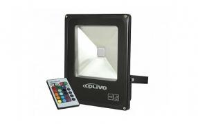 Projetor LED Slim de 10W-50W com luz RGB OLIVO